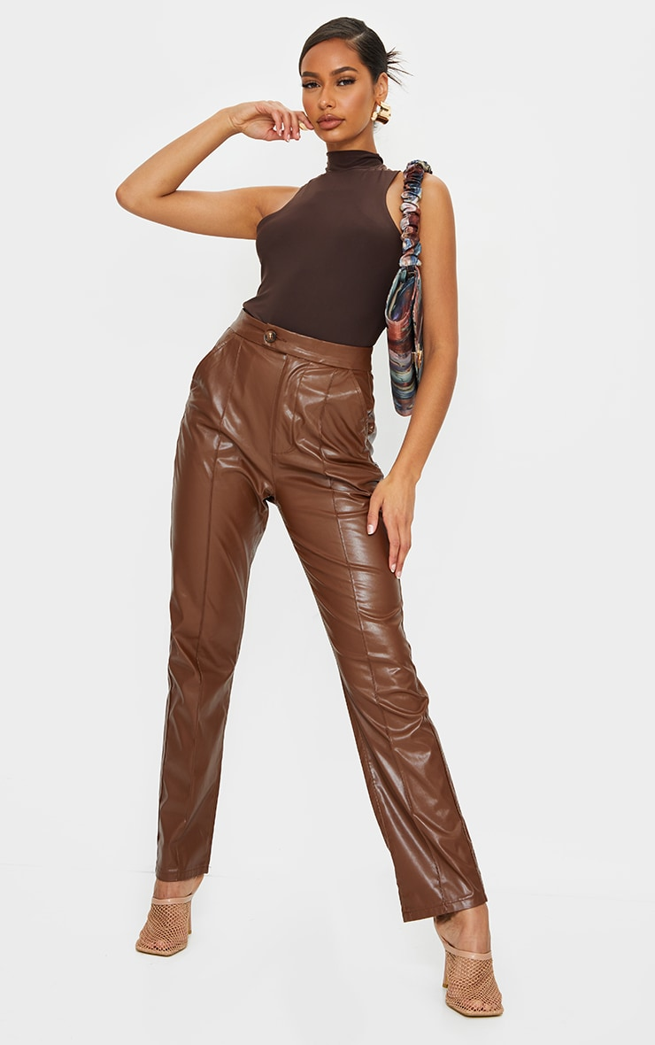 Chocolate Slinky High Neck Extreme Racer Bodysuit 3