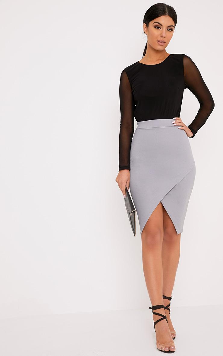 Aislynn Grey Wrap Midi Skirt 1