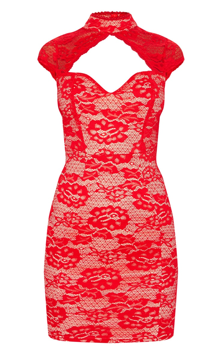 Red Lace Sweetheart Front Backless Bodycon Dress 3