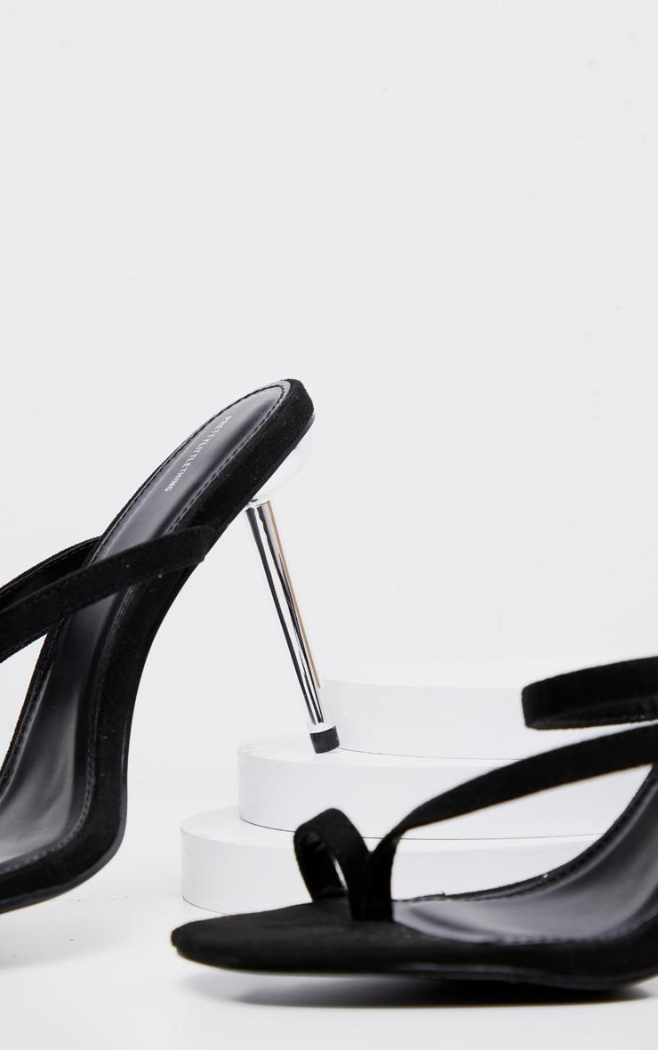 Black Metal Heel Square Toe Mule Sandal 4