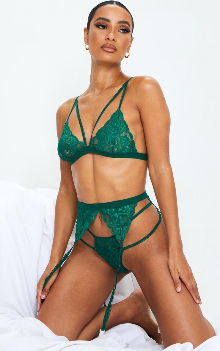 Emerald Green Lace Trim 3 Piece Lingerie Set 1