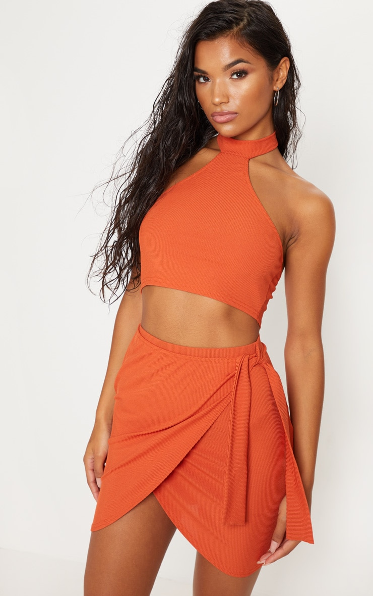 Burnt Orange Rib Halterneck Crop Top 1
