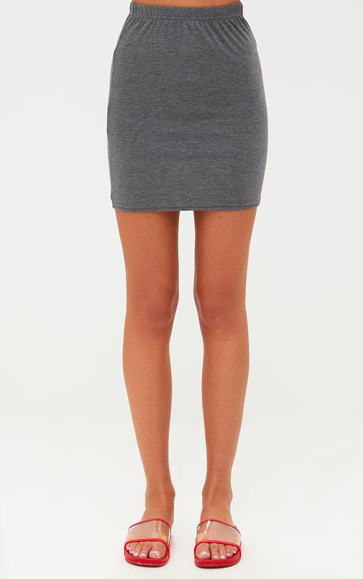 Charcoal Basic Mini Skirt 2
