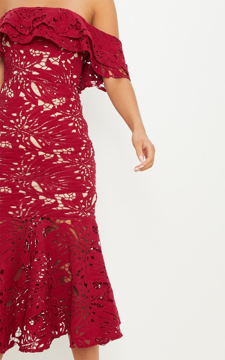 Maroon Crochet Lace Bardot Fishtail Midi Dress 5