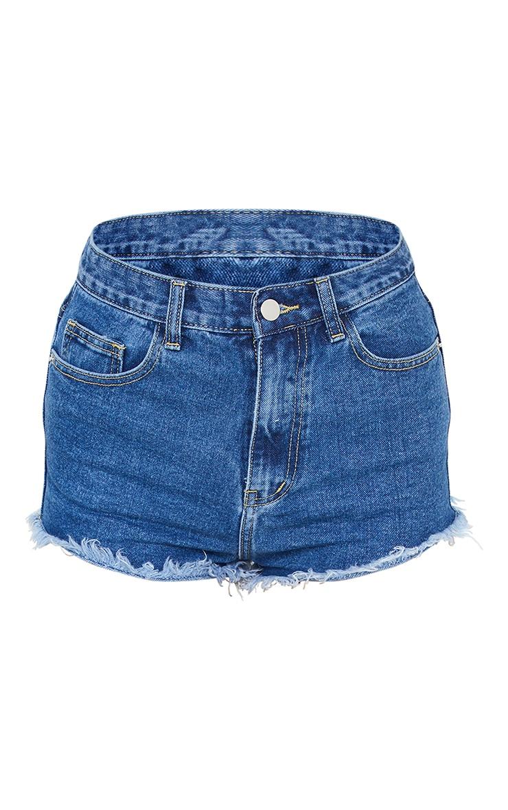 PRETTYLITTLETHING Mid Blue Wash Frayed Hem Denim Shorts 6