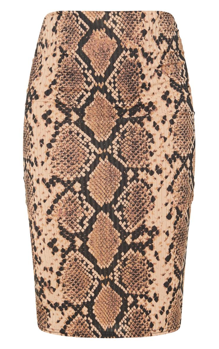 Tan Snake Print Rib Midi Skirt 3