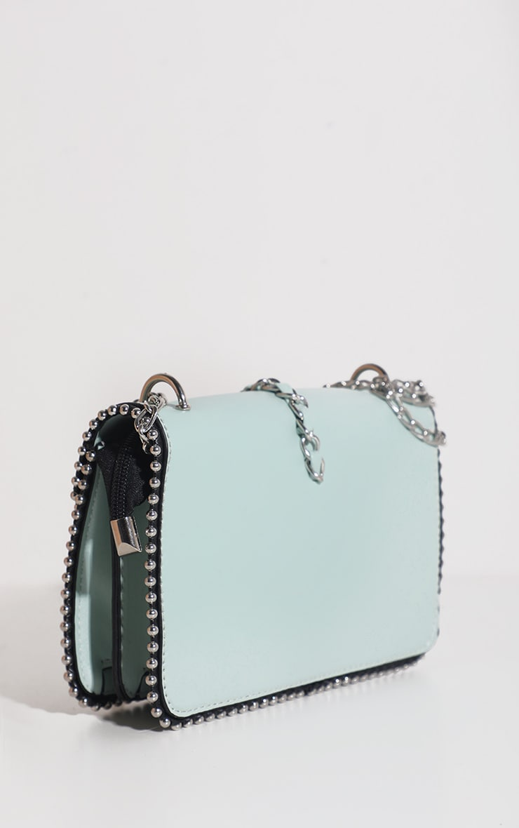 Mint PU Chain and Tassel Trim Cross Body Bag 3