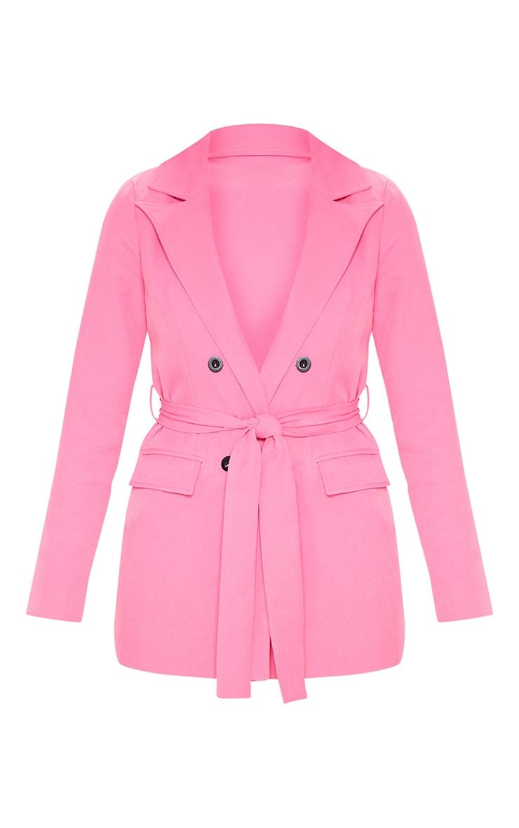 Pink Belted Longline Blazer  3