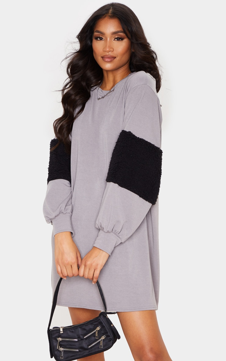 Grey Borg Panel Oversized Jumper Dress
