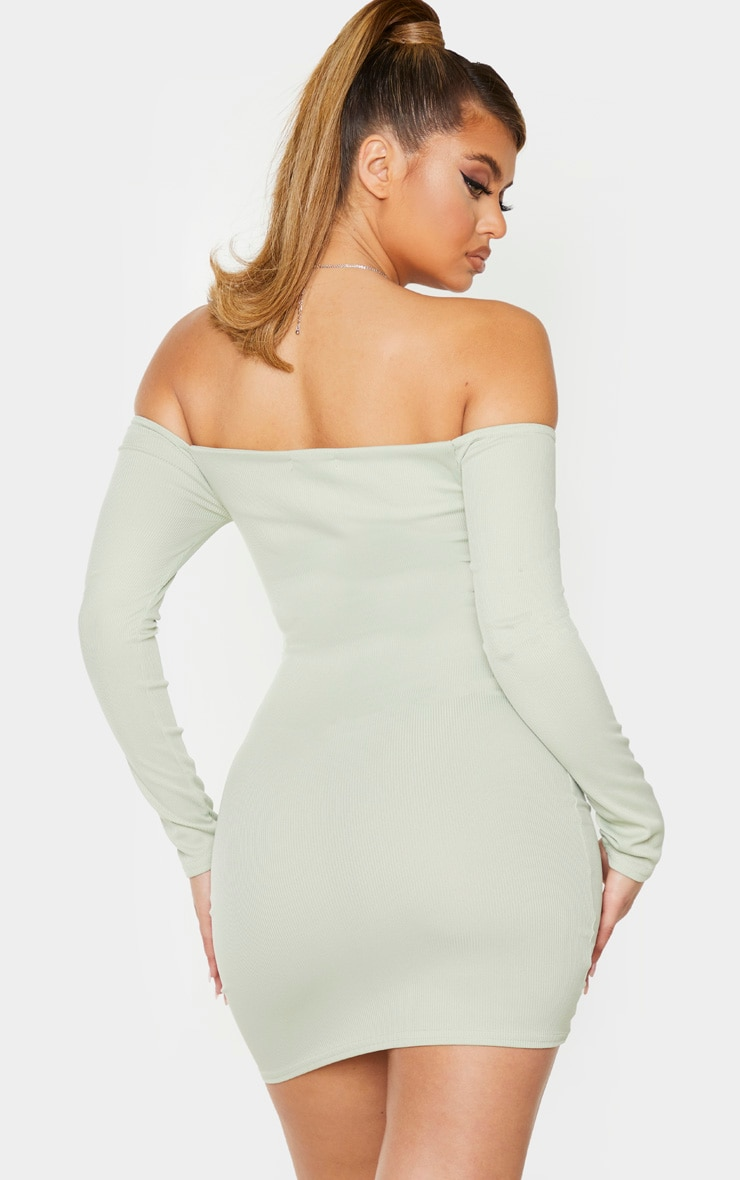Sage Green Ribbed Long Sleeve Bardot Ruched Bodycon Dress 2
