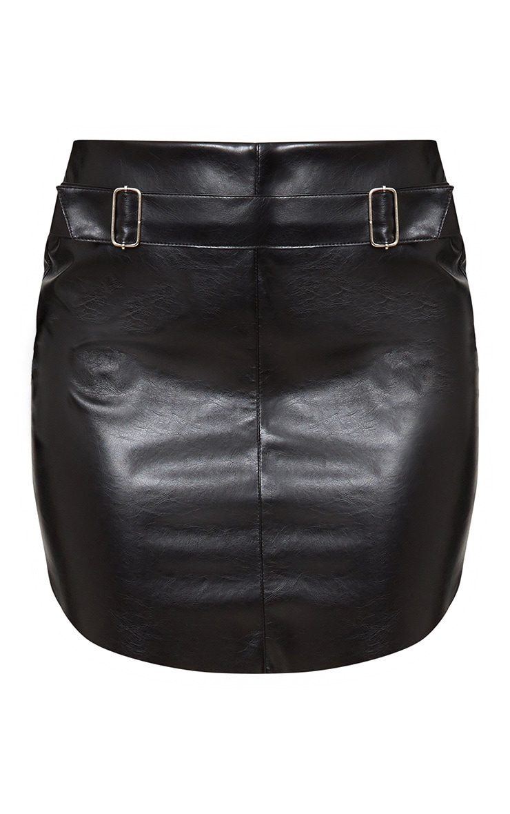 Black Faux Leather Belted Mini Skirt 3
