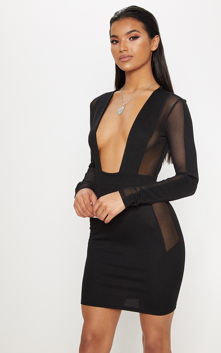 Black Mesh Insert Extreme Plunge Long Sleeve Bodycon Dress 1