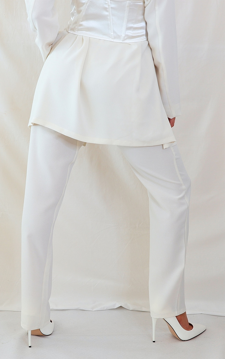 Cream Woven Lightweight High Waist Cigarette Pants 3
