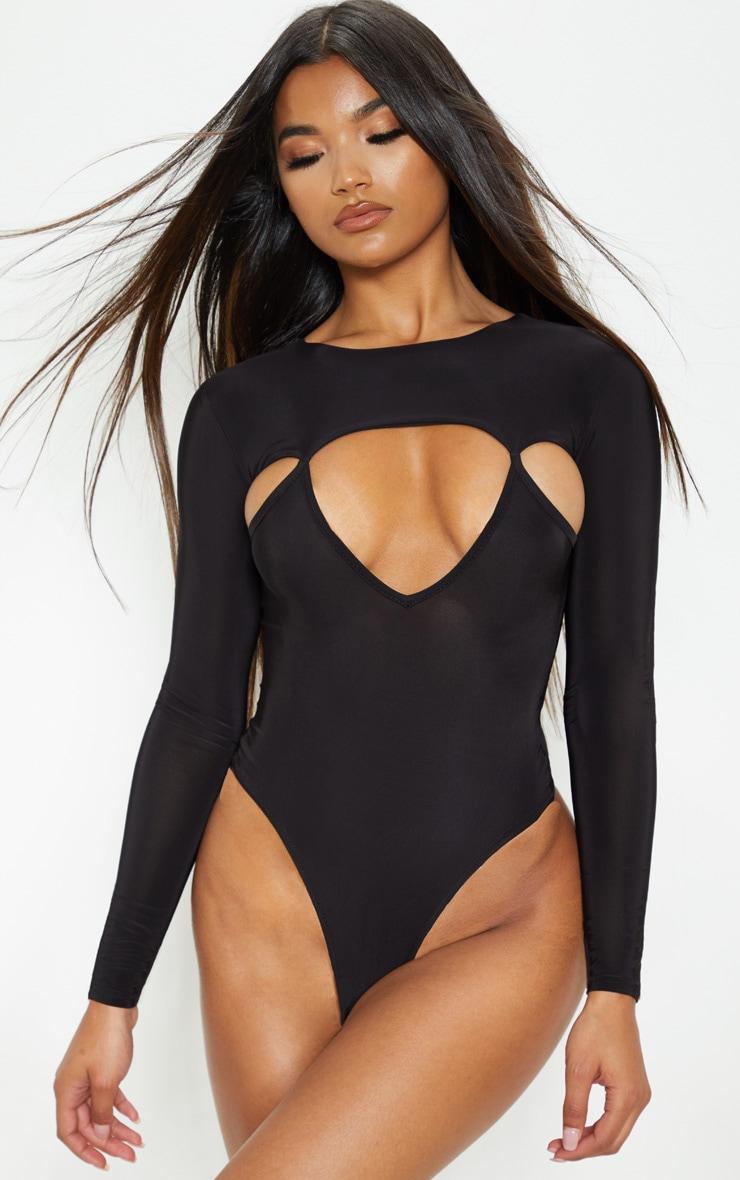 Black Slinky Cut Out Long Sleeve Thong Bodysuit  2