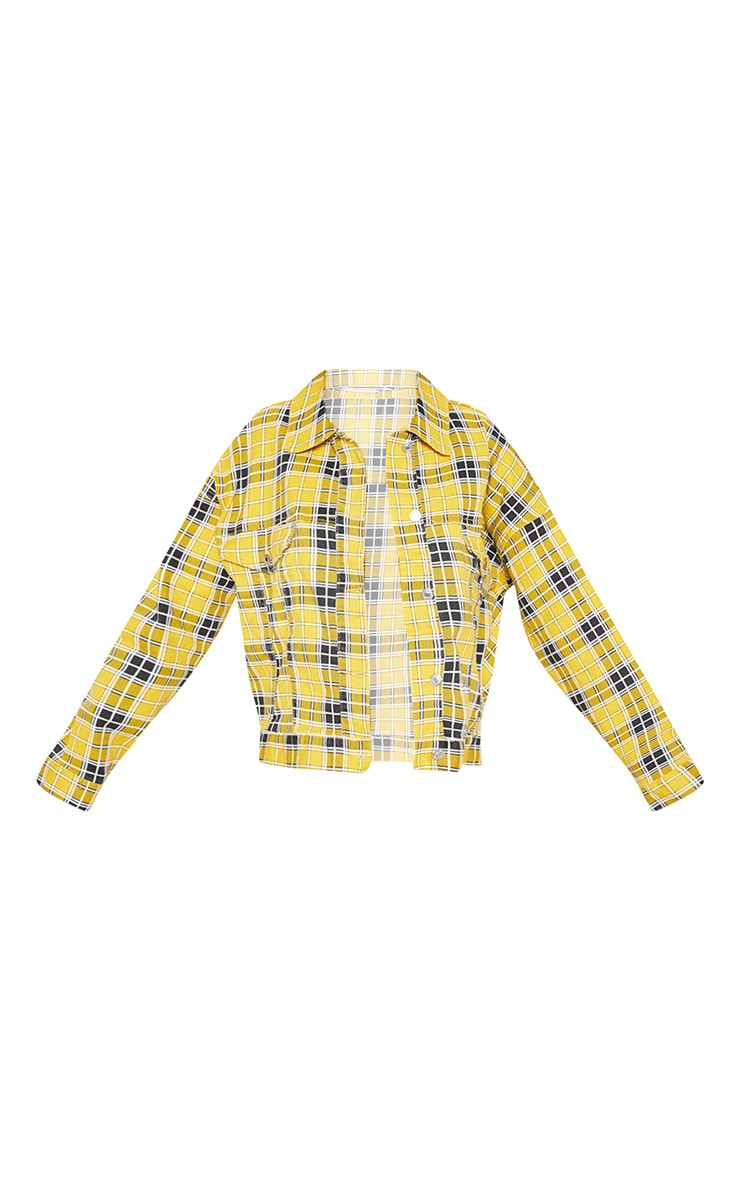 Yellow Checked Oversized Denim Jacket  3