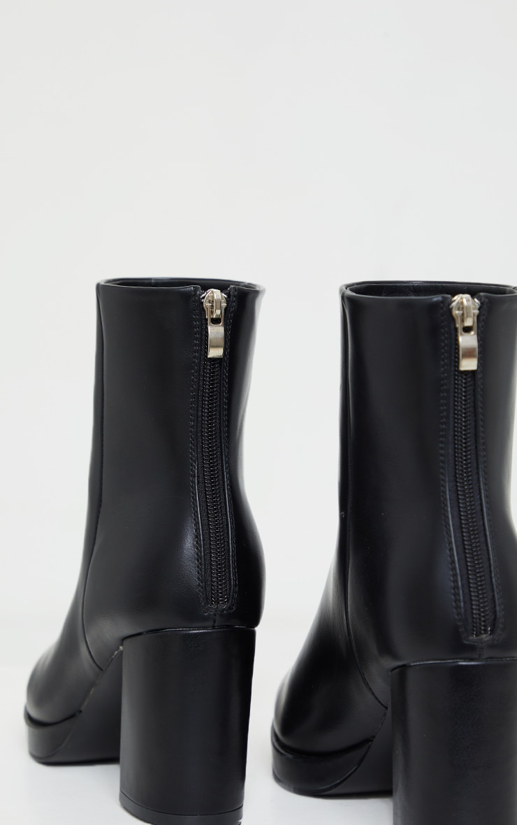 Black Slight Platform Basic Heeled Ankle Boots 3