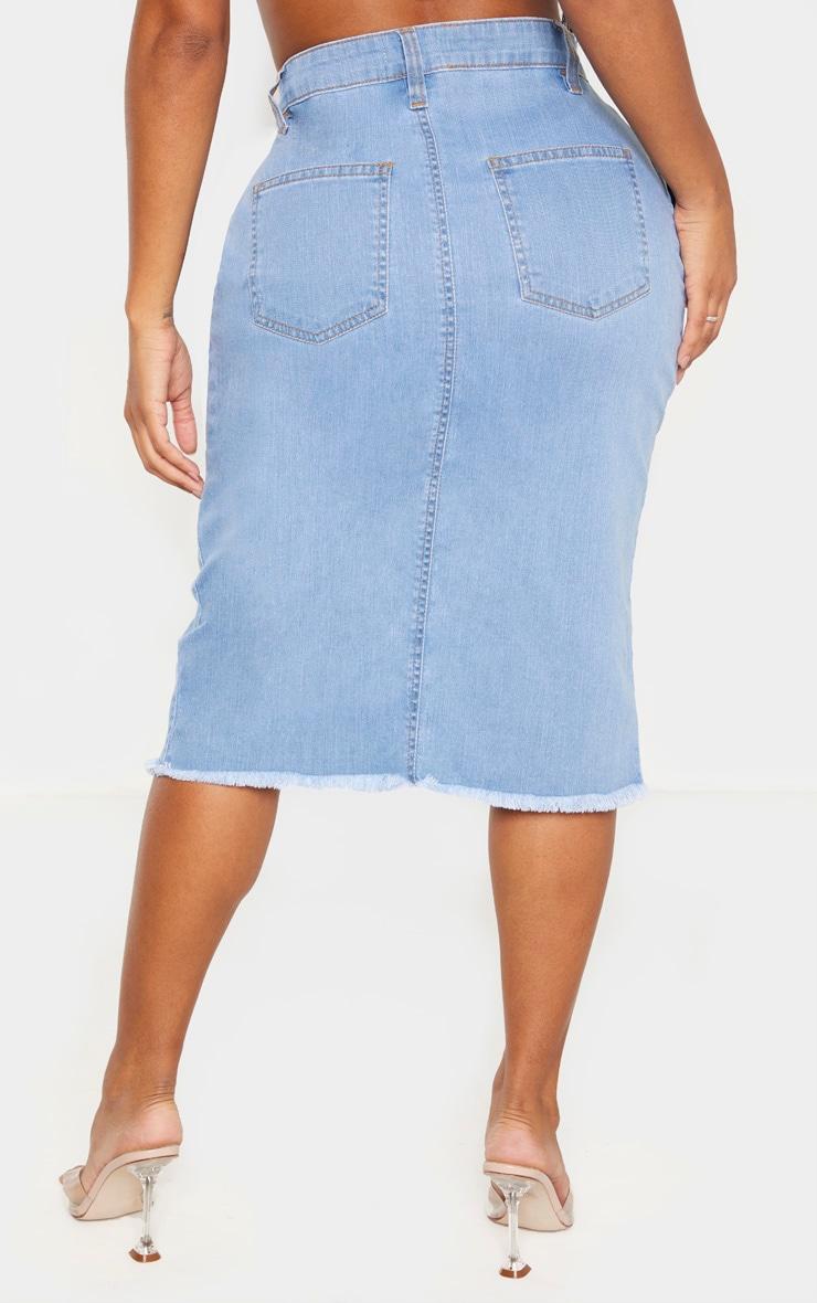 Shape Light Wash Wrap Denim Midi Skirt 4
