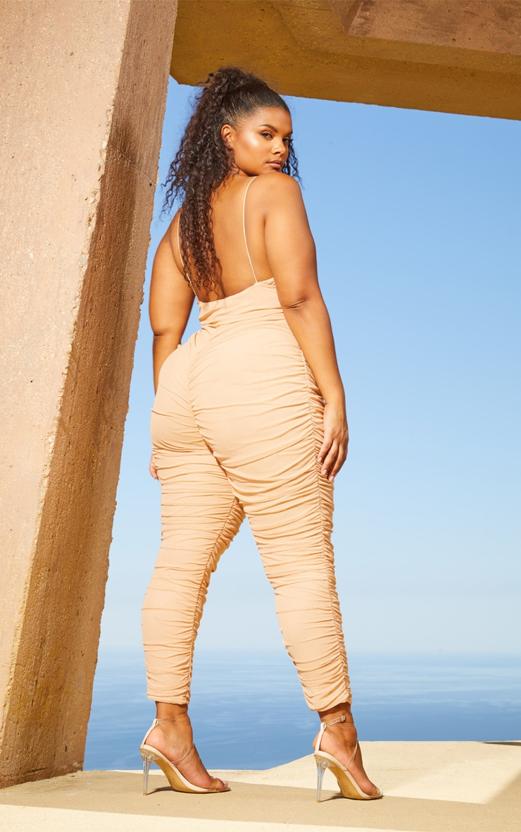 Plus Nude Second Skin Ruched Mesh Jumpsuit 2