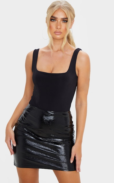 Black Textured Vinyl Mini Skirt