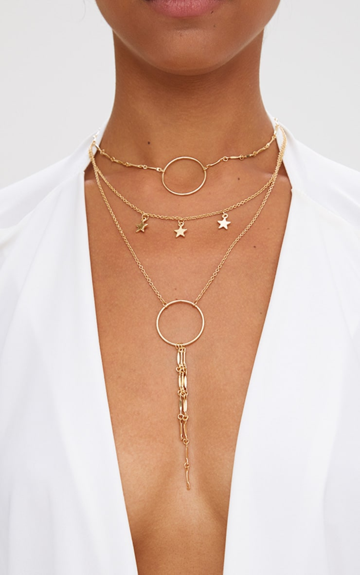 Gold Multi Layer Hoop and Star Drop Necklace