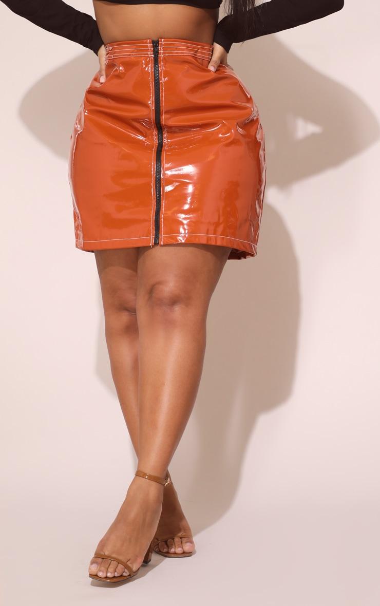Plus Toffee Vinyl Zip Detail Mini Skirt  2