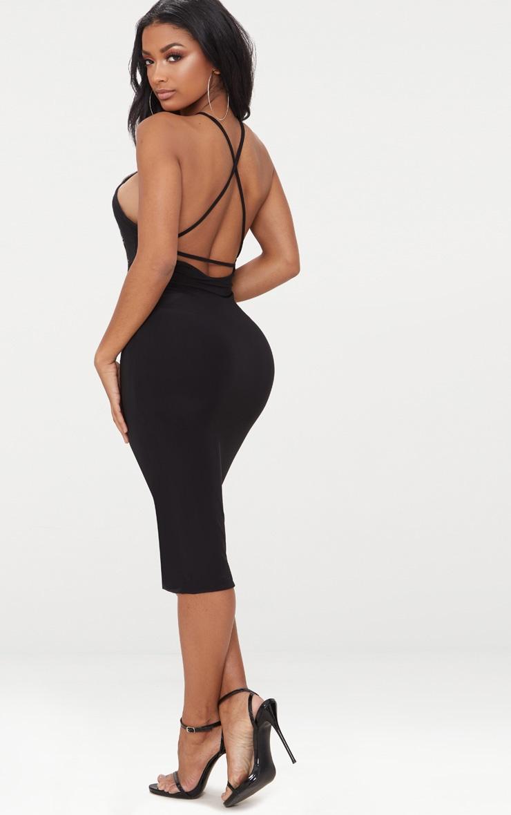 Shape Black Slinky Scoop Back Midi Dress 2