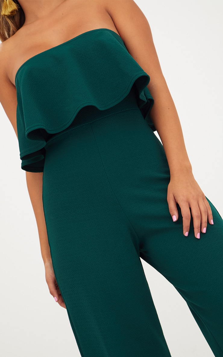 Emerald Green Bardot Double Layer Culotte Jumpsuit 5