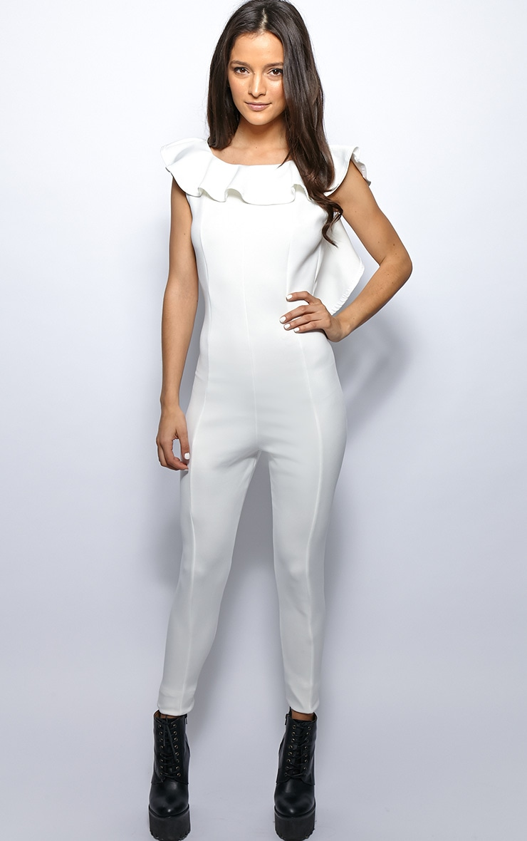 Fern White Frill Scoop Back Jumpsuit 1