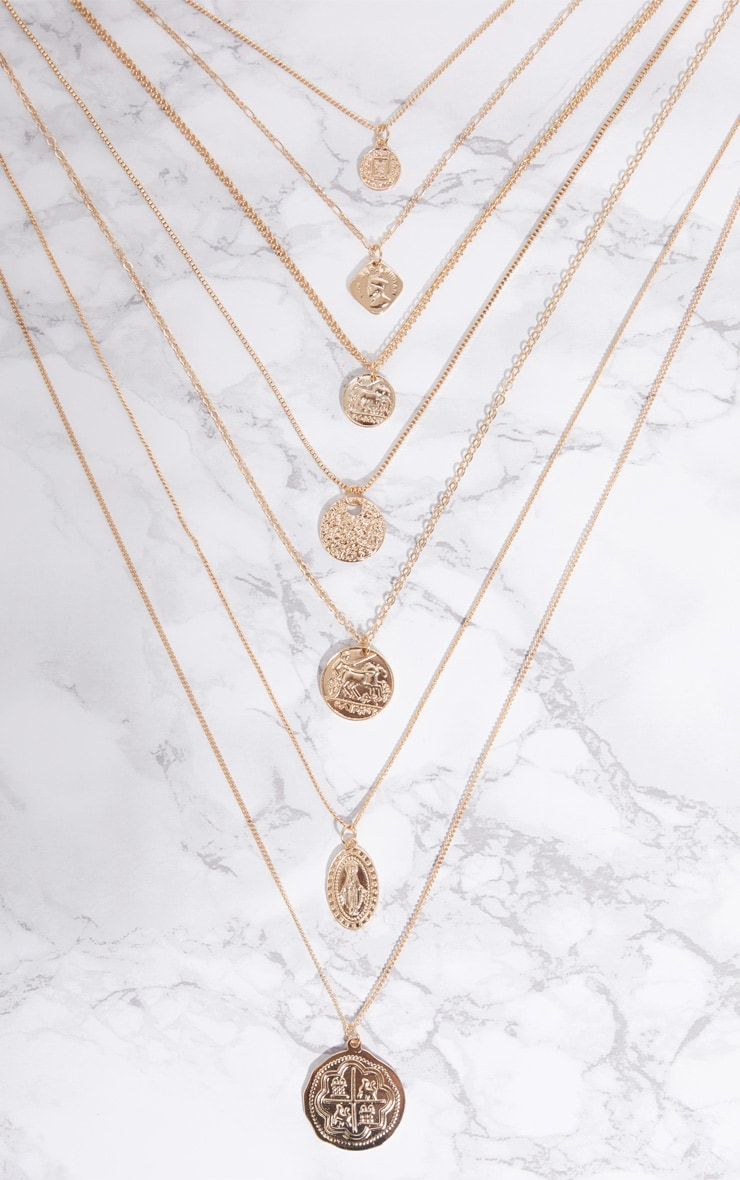Gold Coin Renaissance Multi Layer Necklace 3