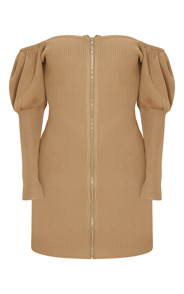 Camel Zip Front Puff Sleeve Knitted Dress 5