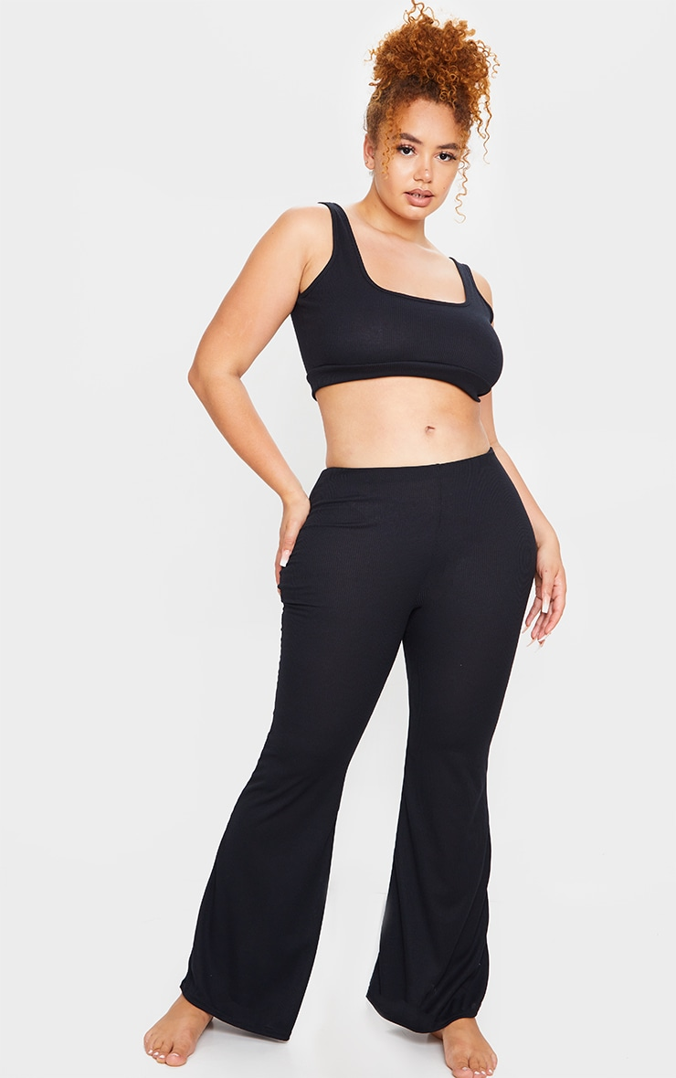Plus Black Soft Rib Scoop Bralette And Flared Pants PJ Set 3