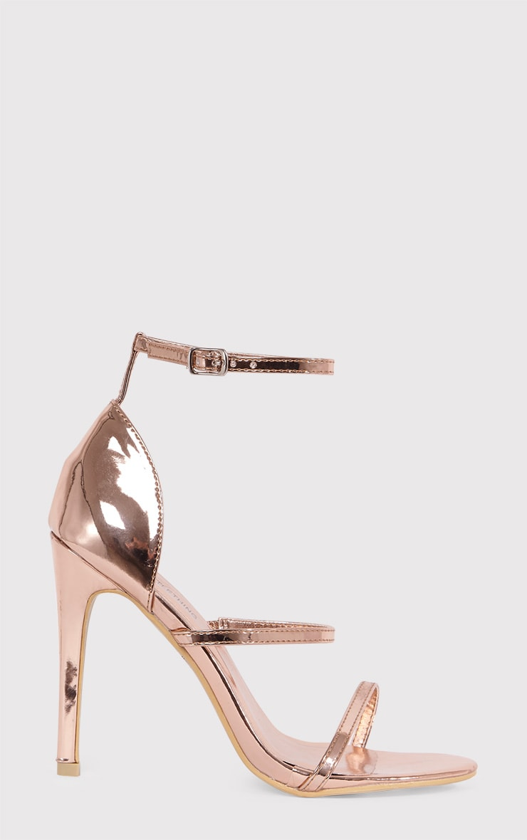 Amelia Rose Gold Strappy Heeled Sandal 2