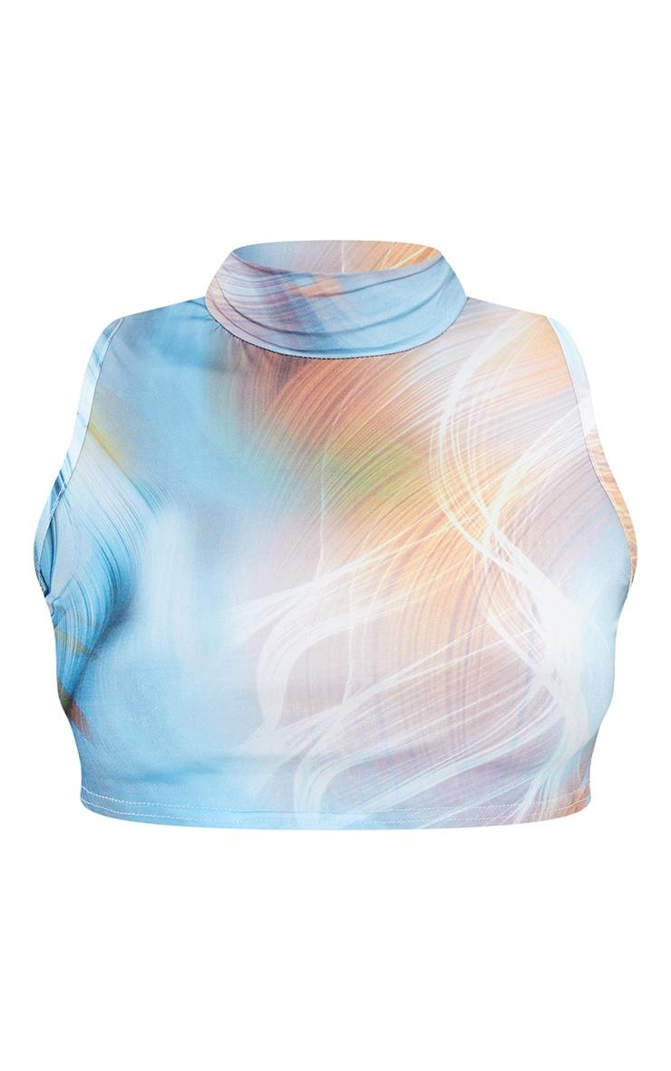 Blue Flame Print Slinky High Neck Sleeveless Crop Top 5