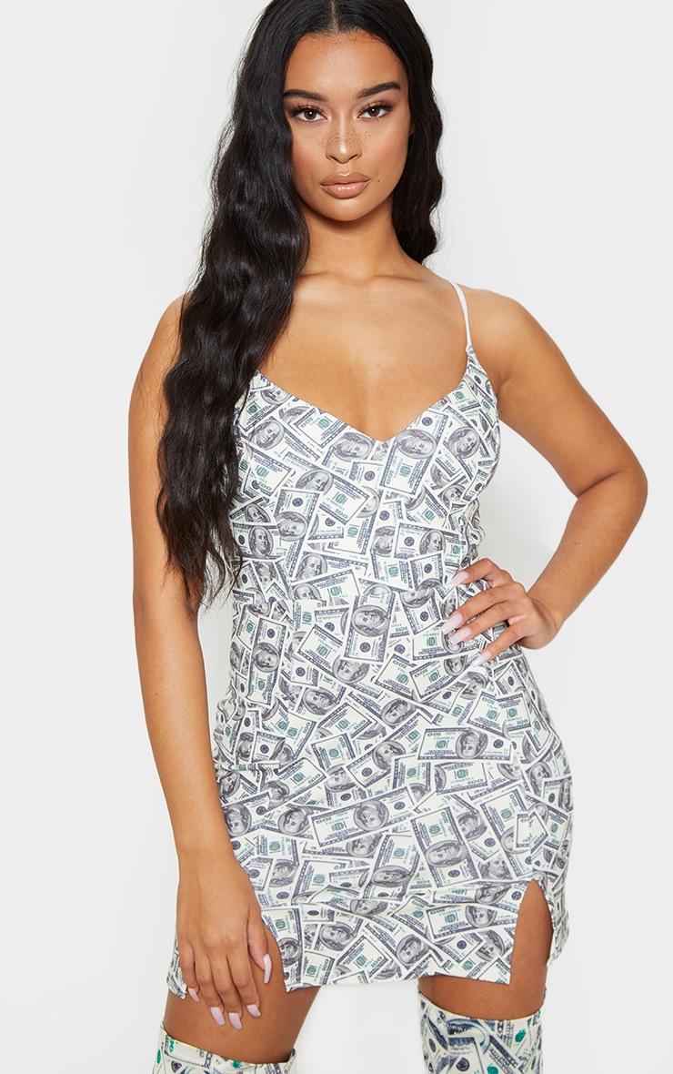Cream Dollar Print Panelled Double Split Bodycon Dress 1