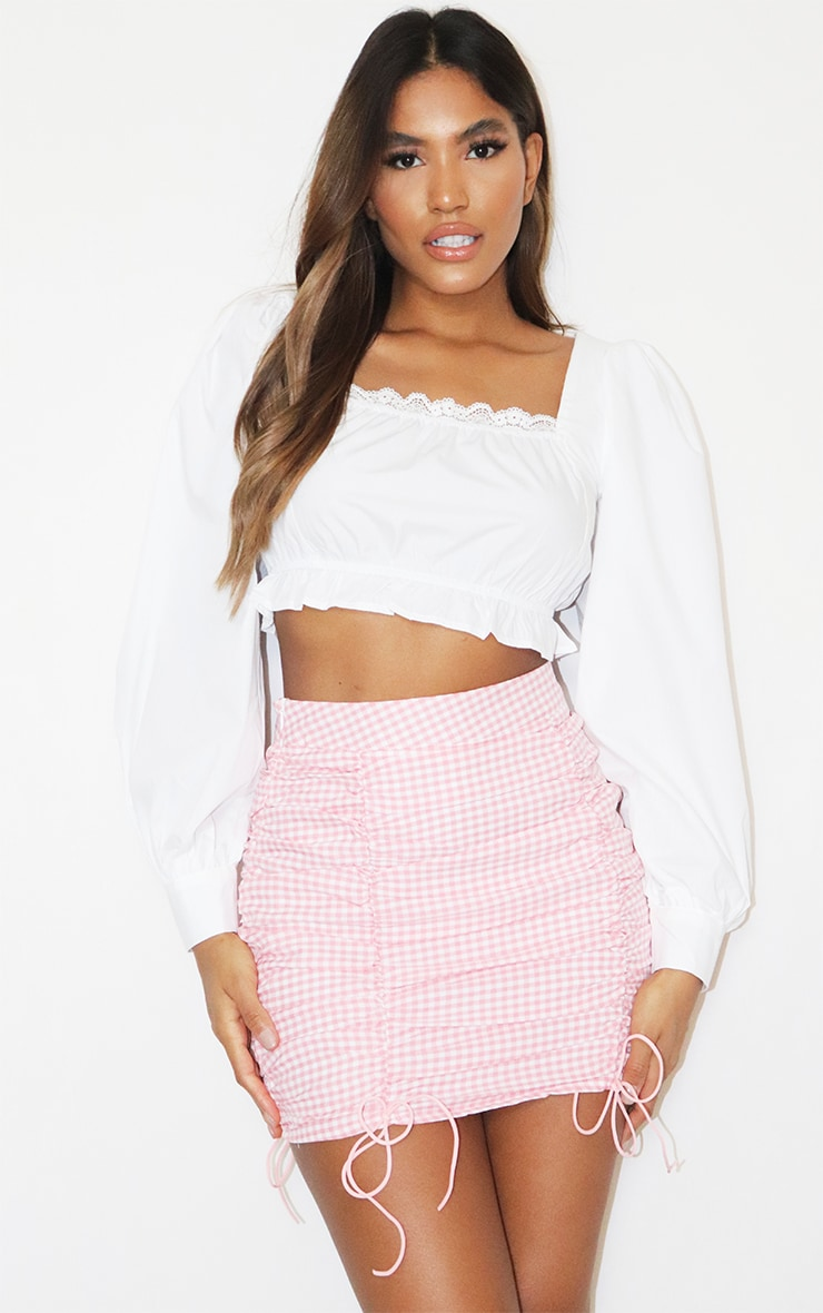 Pink Gingham Ruched Mini Skirt 1