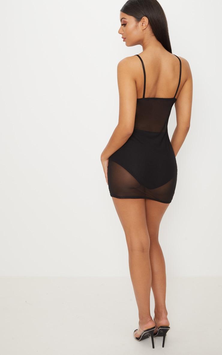 Black Mesh Zip Front Strappy Bodycon Dress 2