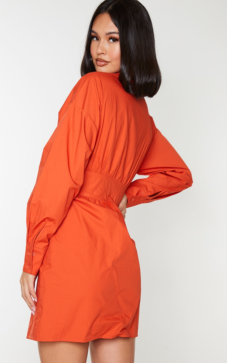 Rust Waist Binding Detail Long Sleeve Shirt Dress 2