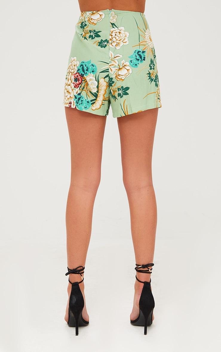 Sage Green Floral Kimono Shorts 4