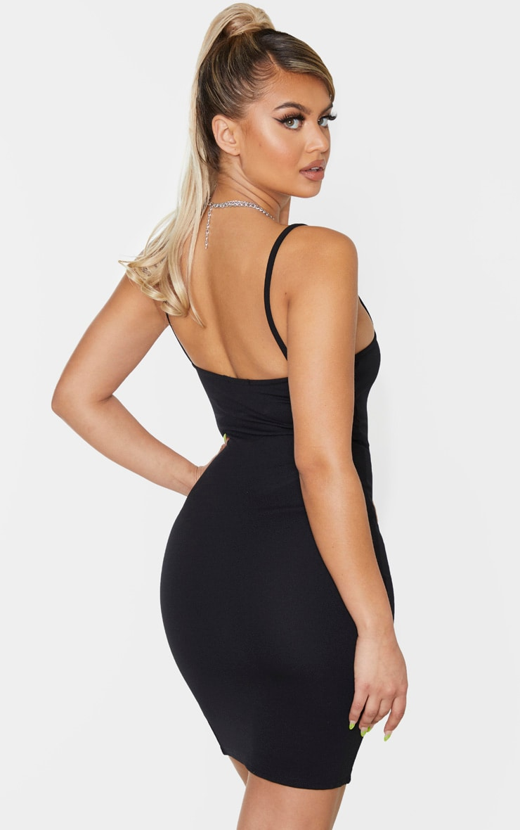 Black Strappy Split Hem Bodycon Dress 2