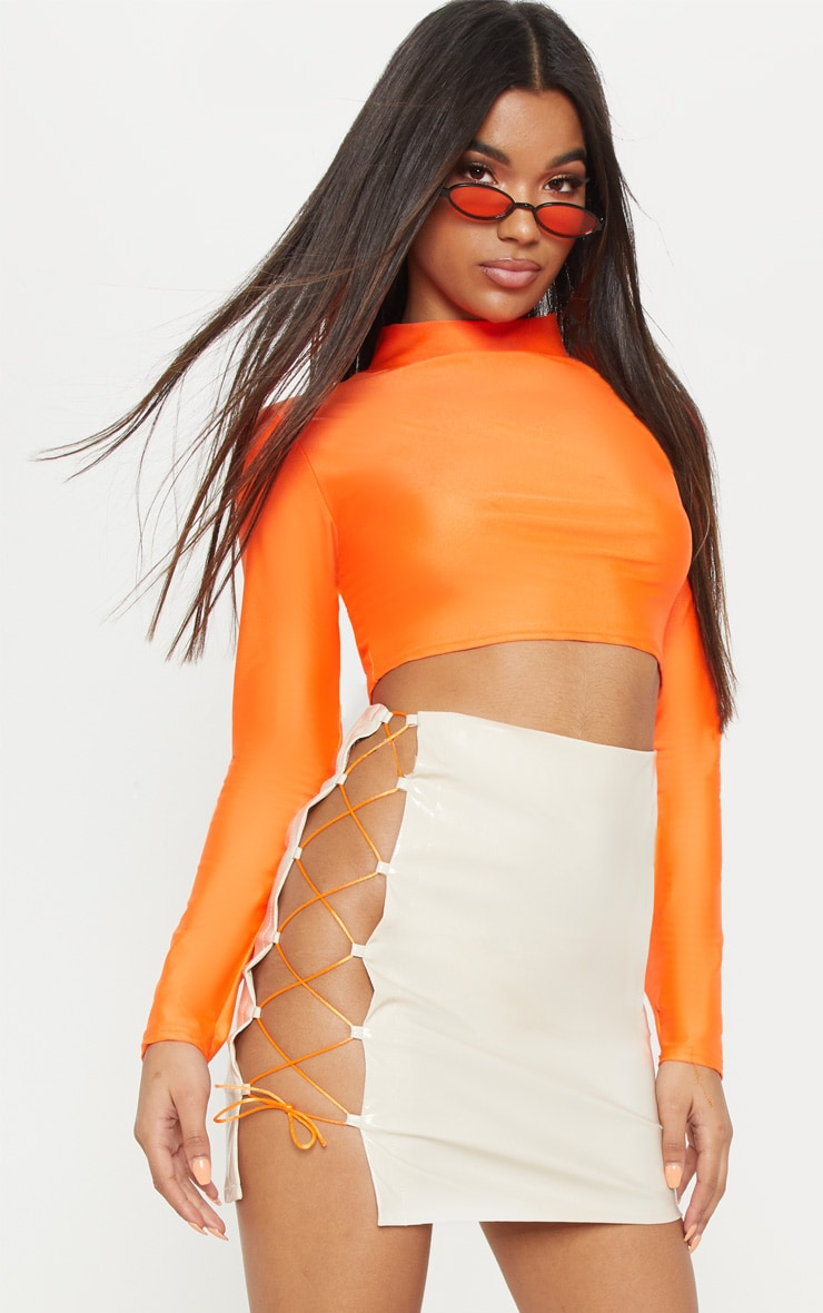 Cream Vinyl Neon Lace Up Detail Mini Skirt  5