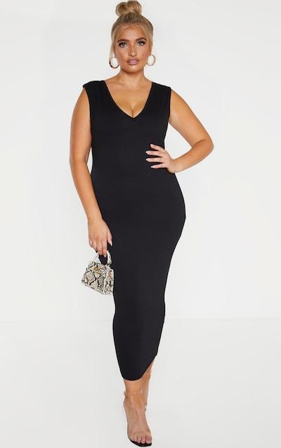 Plus Black Jersey V Neck Midaxi Dress