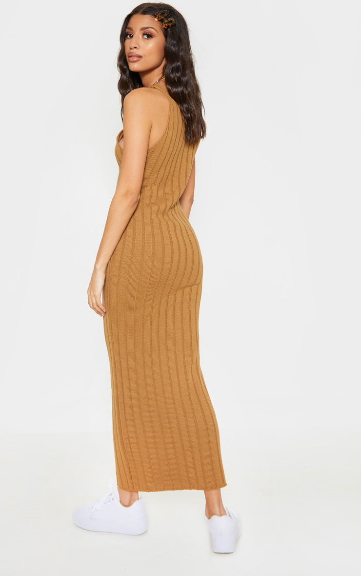 Camel Ribbed Knitted Maxi Dress 2