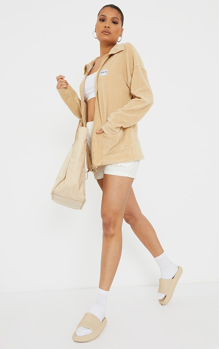 PRETTYLITTLETHING Sand Towelling Zip Up Tracksuit Jacket 3