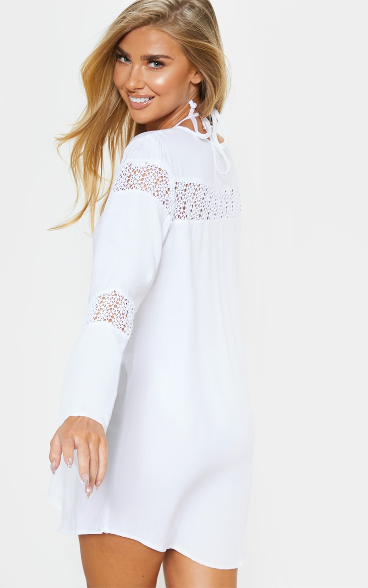 White Oversized Crochet Trim Beach Tunic 2