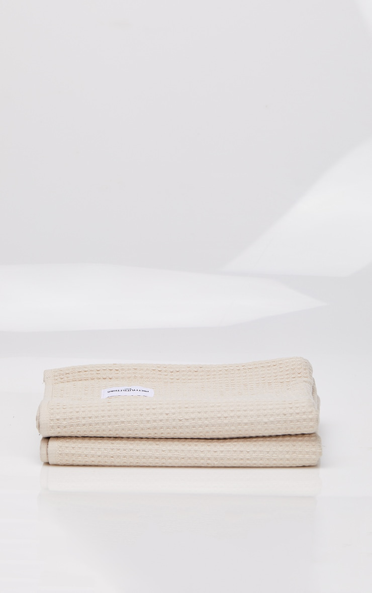 Natural Waffle Cotton Hand Towel Pack Of 2 3
