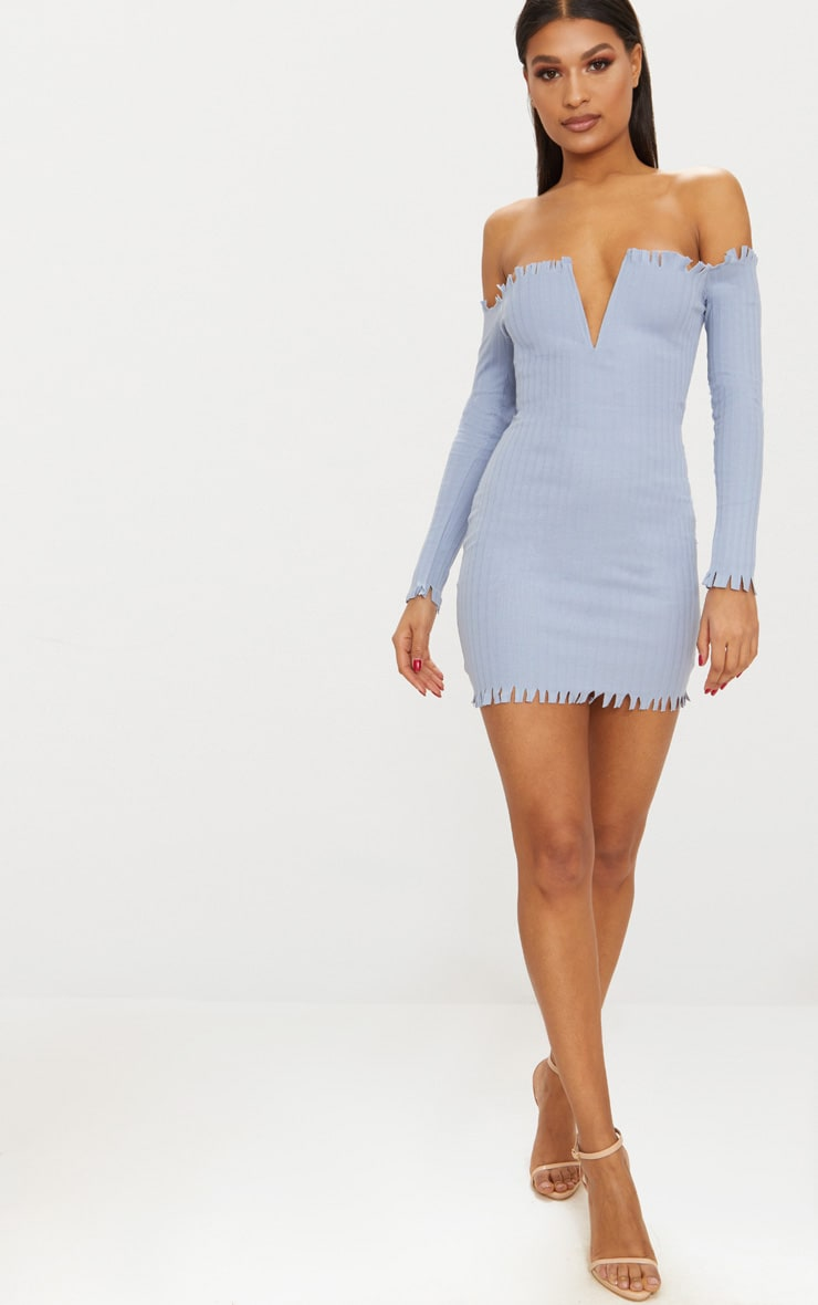 Dusky Blue Ribbed Bardot Raw Edge Detail Bodycon Dress 1