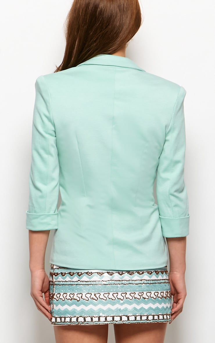 Clara Mint Structured Shoulder Blazer 2