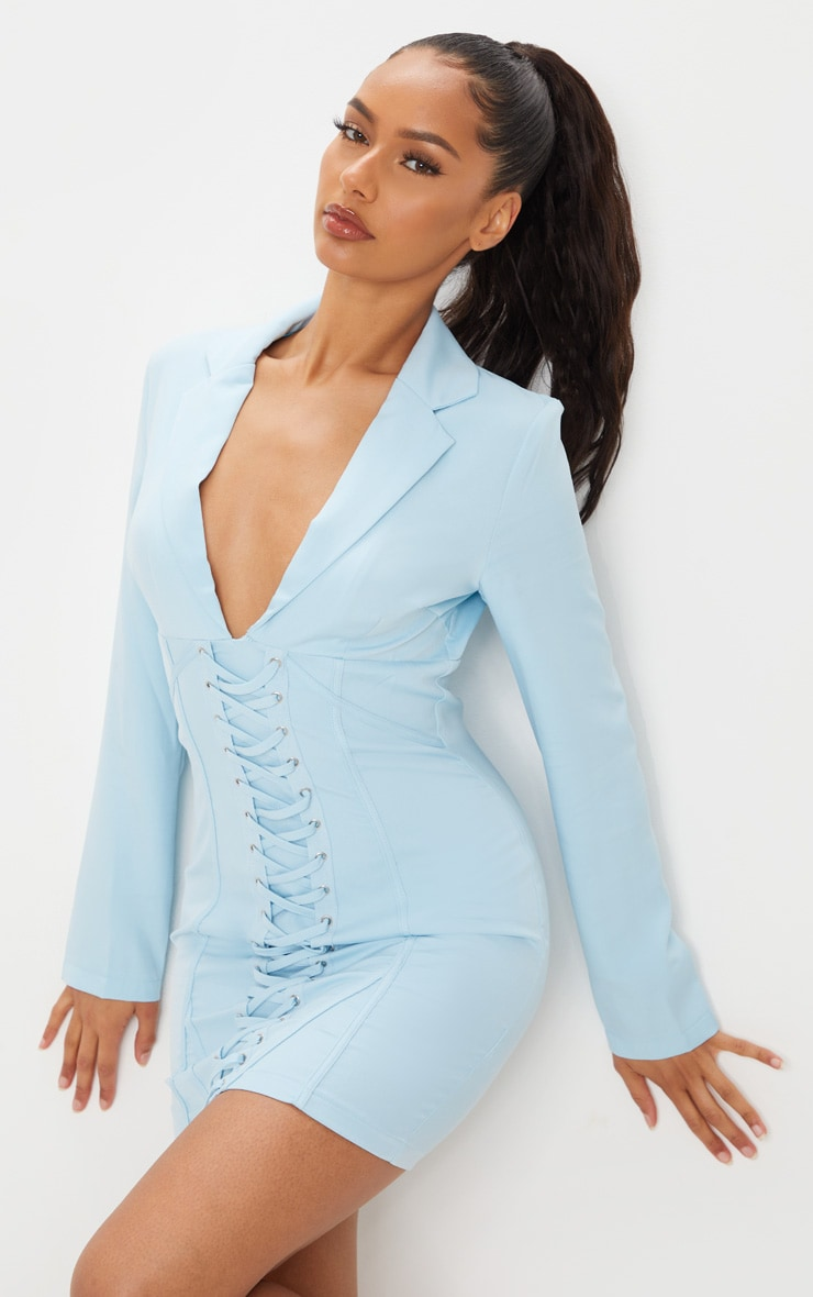 Baby Blue Long Sleeve Corset Lace Up Blazer Style Bodycon Dress 1