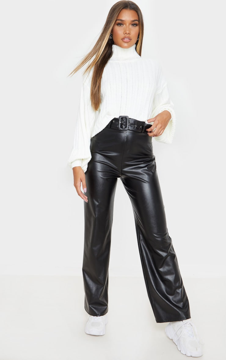 Black Faux Leather Belted Wide Leg Trouser 1