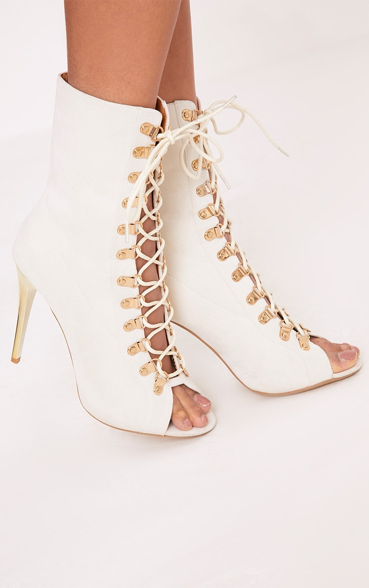 Elina Cream Lace Up Ankle Boots 5